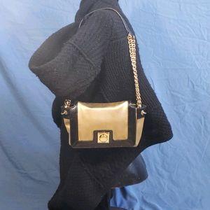 KATE SPADE Beige Satin Black Patent Trim Gold Bag